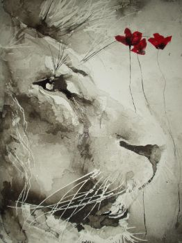 Ink and Wash Lion-complete by JJ-PP
