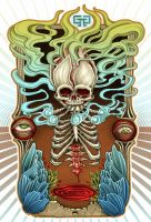 retro smoking skull poster by mr-biggs