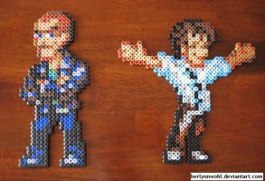 Ninth and Eleventh Doctor in Perler by berlynnwohl