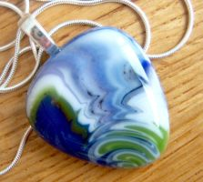 Fused Glass Pendant - Swing by FireChickTick