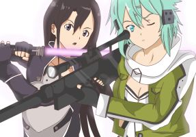 Sword Art Online 2 - Sinon and Kirito (close up) by FATMONG