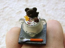 Vanilla Mousse Bear Dish Ring by souzoucreations