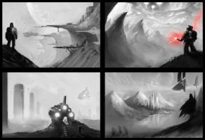 Landscape sketches by 7leipnir