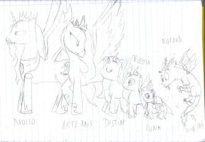 Equestria Royal Family and a gatecrasher by Linadoon
