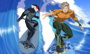 Aquaman and Black Manta Surfing by JeyraBlue