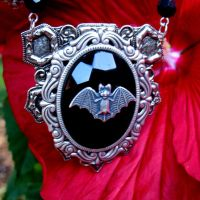 Chunky Black Bead BAT Necklace by Horribell-Originals