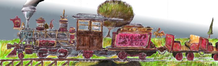 Dinosauron Zoo Train In Color 2 by dinodanthetrainman