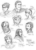 Teen Titans' Head Sketches by Pokelai