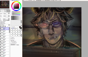 WIP: Cranky Sollux glaring at husktop I assume by HauntedWeeaboo