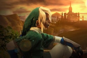 Link watching Hyrule Castle by Eressea-sama
