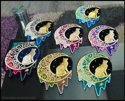 FOR SALE: Crescent Moon cats ~ Embroidered patches by goiku