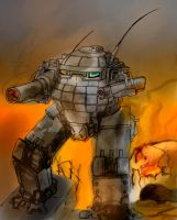 Urbanmech in fire by fed0t