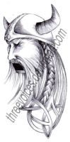Tattoo Design - Angry Viking by threevoices