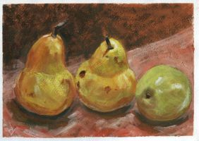 Two Pears And Green Apple by h-i-l-e-x