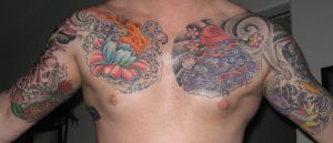 Flower Sleeve Chest Tattoos by jkrasher