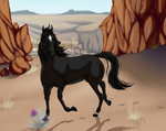 Black Horse, Orange Desert by Blockbeap