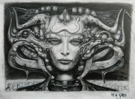Li (Giger Study in Charcoal) by GappsY