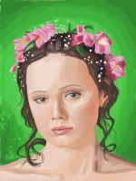 016 - Girl with flowers in her hair by Hopfield