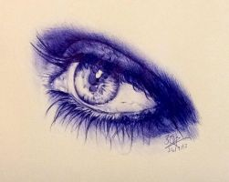 Ballpoint pen drawing of an eye by chaseroflight