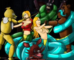 2 Nagas Play meet Five Nights At Freddy's by Silrath
