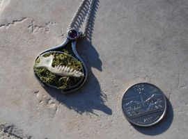 Mole Jaw Pendant Necklace with Moss by kittykat01