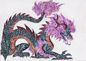 Neon China dragon by kxeron