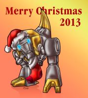 Little Grimlock waits for Santa - XMas 2013 - by Taleea