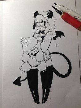 devil girl in a hoodie holding a teddy bear thing by JonTsuda