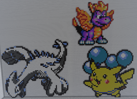 Lugia, Balloon Pikachu and Spyro in Minecraft by justinw1996