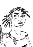 Cornrows lady lineart by tarunbanned