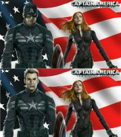 captain america with black widow by billycsk