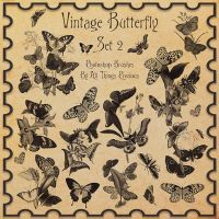 Vintage Butterflies SET 2 Brushes by AllThingsPrecious