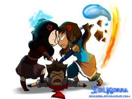 Korra vs Asami (Mako Between o_O) by SolKorra
