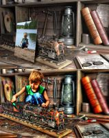 Boy and his toy train by artaquilus
