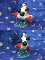 Pandas and rocket-ships by Rabeccasaurus