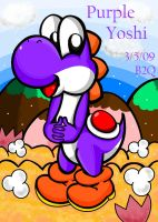 Purple Yoshi in the meadow by Bowser2Queen