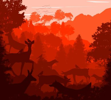 -- Red forest -- by 0l-Fox-l0