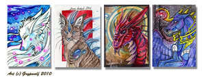 Random ACEO cards by Grypwolf