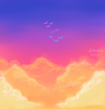 Pink Blue Sky by BluuKiss