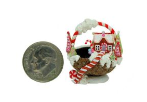 SWEET GINGERBREAD FAIRY HOUSE CANDY CHRISTMAS BASK by WEE-OOAK-MINIATURES