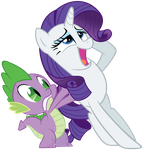 Spike and swooning Rarity by Stabzor