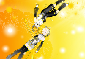 Rin,Len Kagamine Append Boxart by P-Chan93