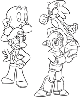 Smash Bros. Group [Lineart] by GamefreakDX