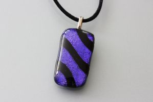 Purple Dichroic Striped Pendant by Dimolicious