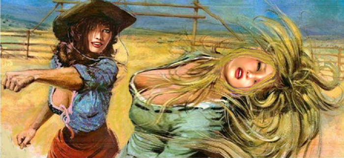 Ashley and Lana do battle in the Wild West by Fan1ofSinclair