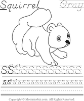 Mommysbiz | S-Squirrel-Gray Preschool Worksheet by DanaHaynes