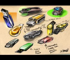 USB Drive Sketches by aMorle