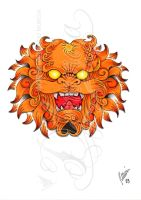 Foo dog head -coloured- by dfmurcia