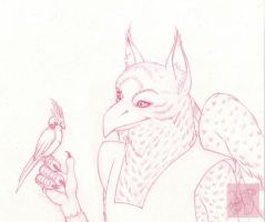 Sovv with a cockatiel - for High-Guard by CreepyCatProductions