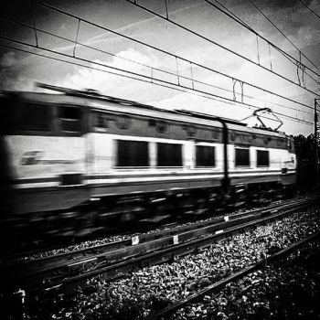 Speeding Train BW by Visionary-Images